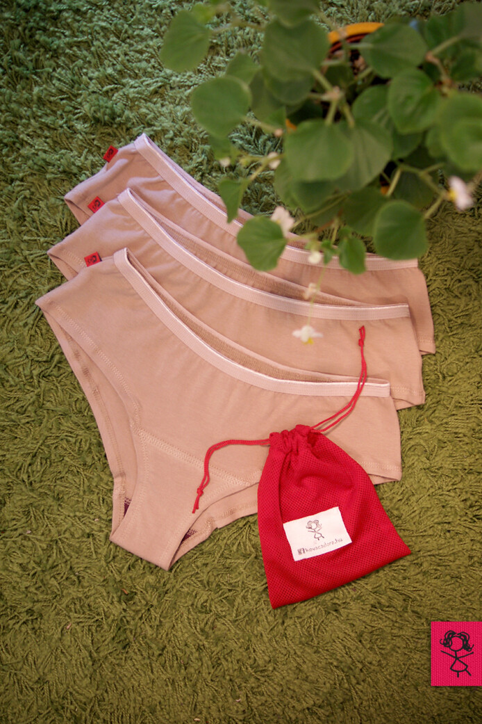 menstruációs bugyi csomag (3db) - beige